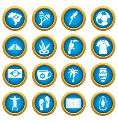 brazil travel symbols icons blue circle set vector image