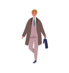 business male in trendy suit carrying briefcase vector image
