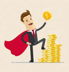 businessman in a red cloak holding golden coin vector image