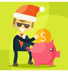 Businessman putting coin into piggy bank Christmas vector