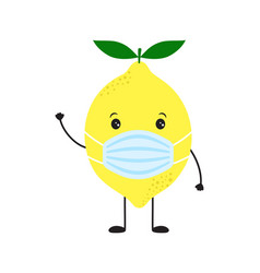 card with funny lemon in medical mask isolated on vector image