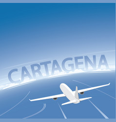 Cartagena skyline flight destination vector