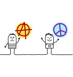 Cartoon men with anarchy and peace love signs vector