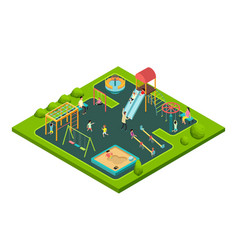 Children playing with parents on kids playground vector