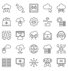 cloud gaming outline icons set - gaming on vector image