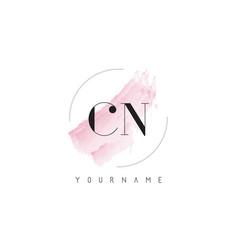 Cn c n watercolor letter logo design vector