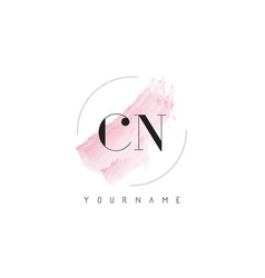 Cn c n watercolor letter logo design with vector