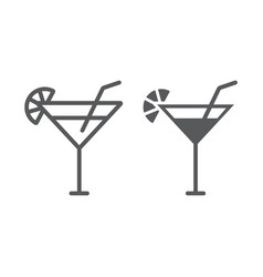 cocktail line and glyph icon beverage and drink vector image