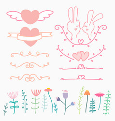 collection of hand drawn lovely for wedding vector image