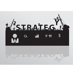 Construction site crane building strategy text vector