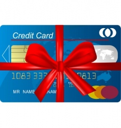Credit card with red ribbon vector