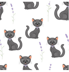 Cute cats with the collar colorful seamless vector