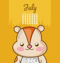 Cute squirrel calendar cartoon vector