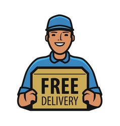 Delivery man with box in his hands courier vector