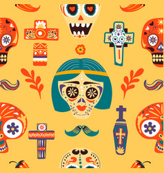 dia de los muertos skulls and crosses seamless vector image