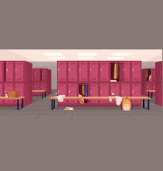 Dressing or locker room in sports club or gym with vector