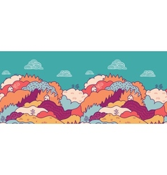 Fall landscape horizontal seamless pattern vector