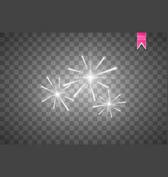 firework lights effect with glowing stars in sky vector image