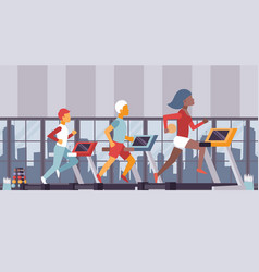 fitness gym people running on vector image