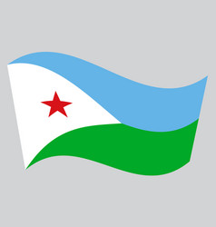Flag of djibouti waving on gray background vector