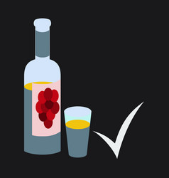 Flat wine bottle it can serve as a layout for vector