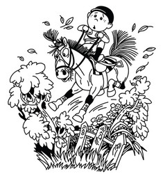 funny pony riding outline vector image