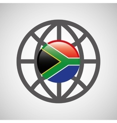 Globe sphere flag southafrica country button vector