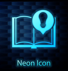 Glowing neon interesting facts icon isolated on vector