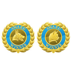 Gold cat and dog pet medals vector