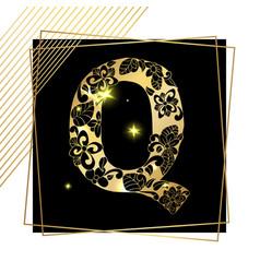 golden ornamental alphabet letter q font vector image