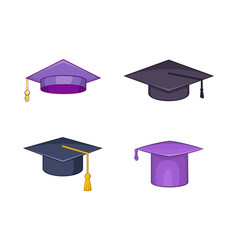 graduation hat icon set cartoon style vector image