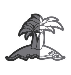 Gray thick contour of island with two palms vector