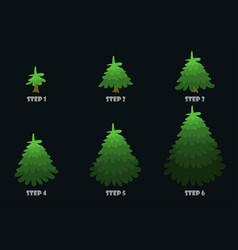 green christmas tree cartoon design vector image