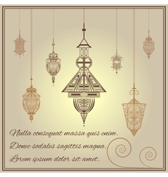 Greeting card vintage ethnic ornament style with vector