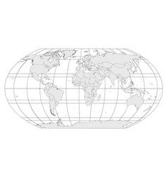 Grey world map with meridians and parallels grid vector