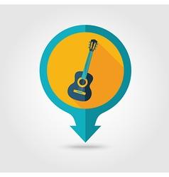 Guitar Beach pin map flat icon Summer Vacation vector