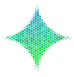 halftone blue-green sparkle star icon vector image