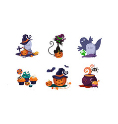 Halloween design elements set scary symbols vector