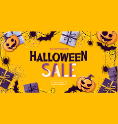 halloween sale poster with jack o lantern vector image