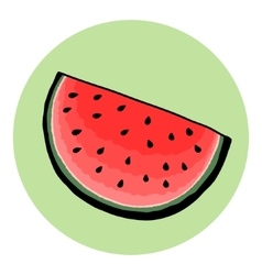 Hand drawn watermelon piece vector