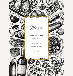Hand sketched french cuisine picnic flyer vector