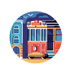 historic red retro tram icon in flat vector image