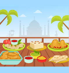 indian cuisine national tasty food dishes on vector image