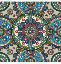 indian paisley mandala seamless pattern vector image