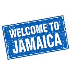 Jamaica blue square grunge welcome to stamp vector