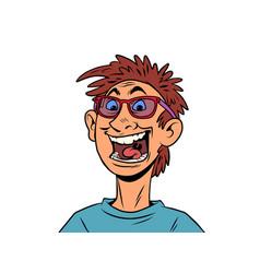 Joyful young man shouts emotions happiness vector