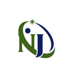 Letter nj modern logo vector