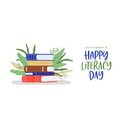 Literacy day book pile green plant leaf web banner vector