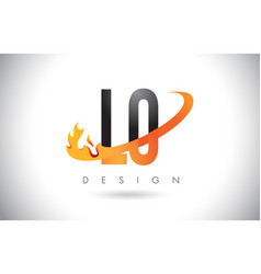 Lo l o letter logo with fire flames design and vector