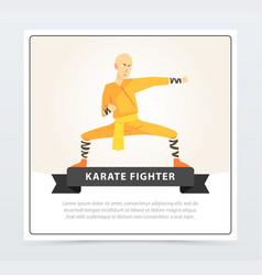 man in orange kimono training karate fighter vector image